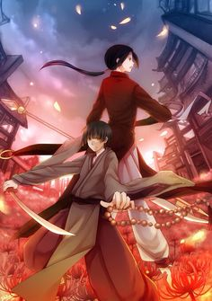 Hetalia (ヘタリア) - China (中国) & Japan (日本) <<< for some reason japan reminds me of miroku from inuyasha in this picture