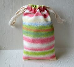 Pink Green Striped Drawstring Bag Cell Phone Pouch by DivineLuluCreations, $7.00