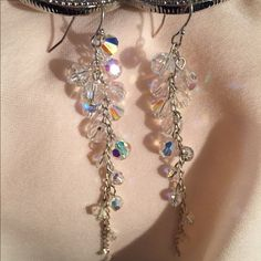 Gorgeous Iridescent Earrings Gorgeous beads cascading down your ear, catching every bit of light and transforming it into an illusion of an aurora borealis!!! You can wear these with almost anything!!! Only worn once! Jewelry Earrings