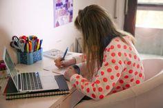 student doing homework in room