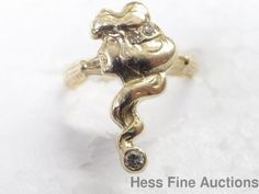 Very Art Nouveau 14k Gold Genuine Diamond Woman Wavy Hair Ring #Band