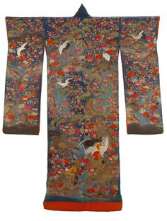 Furisode (long-sleeved kimono), Japan, Late 19th early 20th century. Silk, metallic-wrapped yarns; satin weave, embroidered.