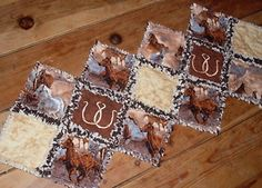 Handmade Wild Horses Rag Quilt Western Table Runner Rodeo Horseshoes Embroidered | eBay