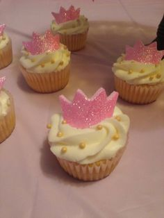 glittery crown cupcake toppers