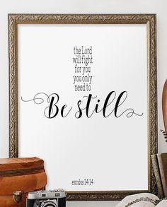 Exodus 14:14 Bible verse wall art Be still von TwoBrushesDesigns