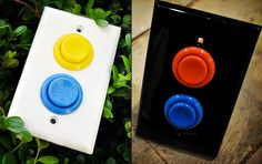 Arcade game buttons for light switch. game room - cool idea