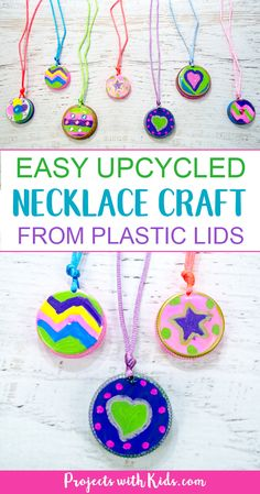 This upcycled necklace craft for kids! So fun and colorful, kids will want to make them for all their friends. Kids can create their own unique designs for one of a kind jewelry that makes a wonderful handmade gift. Mothers Day Crafts For Kids, Craft Projects For Kids, Crafts For Kids To Make, Crafts For Girls, Art For Kids, Craft Kids, Recycling Activities For Kids, Project Ideas, Camping Activities