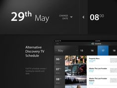 Discovery TV Schedule  Full application design is here: http://www.behance.net/gallery/Discovery-Channel-iPad/9184071
