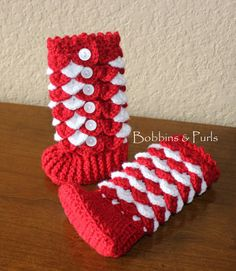 Christmastime is here!  These tall, candycane-striped booties are both stylish and warm and will be an adorable addition to your little ones