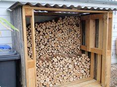 Great idea.. reuse pallets as shed for logs: http://westerskov.blogspot.dk/2013/05/ikke-nogen-sknhed.html#comment-form
