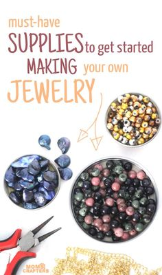 Must-have jewelry making supplies for beginners Must-have jewelry making supplies for beginners,Beaded jewelry Want to get started making jewelry? Check out this list of MUST-HAVE JEWELRY MAKING SUPPLIES FOR BEGINNERS! It explains everything you. Do It Yourself Jewelry, Do It Yourself Fashion, Make Your Own Jewelry, Wire Jewelry, Jewelry Crafts, Beaded Jewelry, Jewelry Necklaces, Silver Jewelry, Silver Earrings
