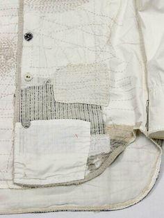 KAPITAL - boro shirt detail texture and patch Cardigan Blazer, Visible Mending, Make Do And Mend, Magnolia Pearl, Japanese Textiles, Darning, Fabric Manipulation, Yohji Yamamoto, Fabric Art