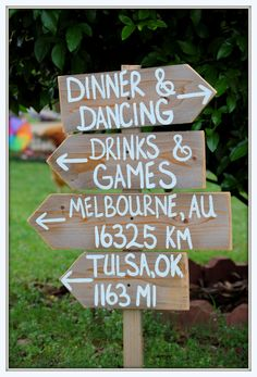 Rustic Wedding Signs Reclaimed Wood. Directional Arrow Wooden Sign Reception Signs. Outdoor Wedding Decorations City Signs. $99.00, via Etsy.