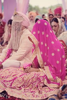 Bride In A Pretty Pink Gota Embroidered #Lehenga.