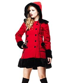 Tiger Milly - Manteau Veste Hiver Hell Bunny Srah Jane Rouge - Rouge S Angel Outfit, Bunny Outfit, Red Winter Coat, Rockabilly Outfits, Rockabilly Clothing, Retro Clothing, Rockabilly Style, Dress Clothes For Women, Lolita