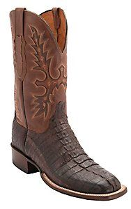 Lucchese® Cowboy Collection™ Men's Barrel Brown Jacare Hornback Caiman Tail Double Welt Exotic Square Toe Boots