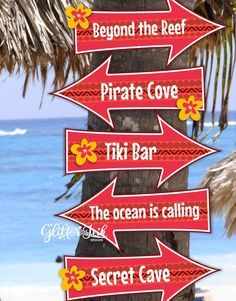 Moana Polynesian inspired party arrow signs by GlitterInkDesigns Aloha Party, Hawaiian Luau Party, Moana Birthday Party, Hawaiian Birthday, Luau Birthday, Tropical Party, Beach Party, 4th Birthday Parties, Hawaiian Theme