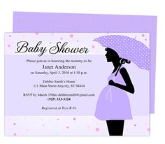 Cute Maternity Baby Shower Invitation Template.  Edit yourself with Word, Publisher, Apple iWork Pages. Available in purple (shown), blue, pink, and peach.