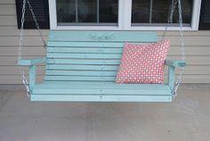 Porch swing aqua