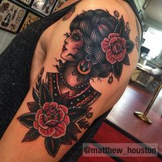 Lovely lady on a man with a firm handshake! #traditional #tattoo #ladyhead #rose #lady @salonserpenttattoo