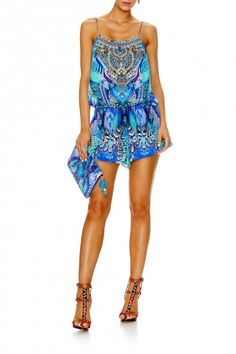 Capture the unbridled energy of Africa's wildlife with our stunning shoestring strap playsuit. This floaty playsuit is lovingly crafted from the softest silk crepe and features CAMILLA's exclusive Moon Dance print adorned with hand-applied crystals. Moon Dance, Silk Crepe, Kaftan, Tankini, Bohemian, Rompers, Comfy, My Style, Romper