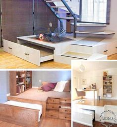 44 Cozy Furniture Design For Small Apartments Tiny House Bedroom, Tiny House Loft, Tiny House Storage, Tiny House Living, Tiny House Design, Small Living, Space Saving Beds, Space Saving Furniture, Furniture For Small Spaces