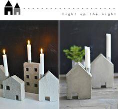 Zementhäuser als Kerzenhalter - Photos von s i n n e n r a u s c h: Mein erster Versuch