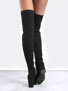 Online shopping for Square Toe Suede Thigh Boots BLACK from a great selection of women's fashion clothing & more at MakeMeChic.COM.