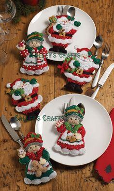 Bucilla Felt Applique Kit Santa and Mrs Claus Silverware Holder 86310 Sale… Felt Christmas Ornaments, Christmas Stockings, Christmas Decorations, Santa Ornaments, Table Decorations, Holiday Decorating, Xmas Crafts, Felt Crafts, All Things Christmas