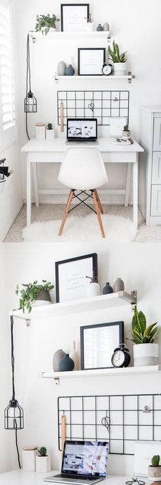 Home Office Style! deco ideas furnishing desk chair mirror home Office Style! home decoration desk chair mirror image drawer functional workplace optimally arrange open perfect stylish modern ikea roo Study Room Decor, Cute Room Decor, Room Ideas Bedroom, Bedroom Decor, Home Office Design, Home Office Decor, Office Style, Office Ideas, Desk Office