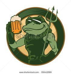 frog cartoon with beer