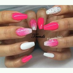 Neon pink and white coffin nails glitter ombré spring/summer 2016 nail art Coffin Nails Glitter, White Coffin Nails, Neon Nails, Love Nails, Acrylic Nails, White Toenails, Pink Coffin, Gorgeous Nails, Pretty Nails