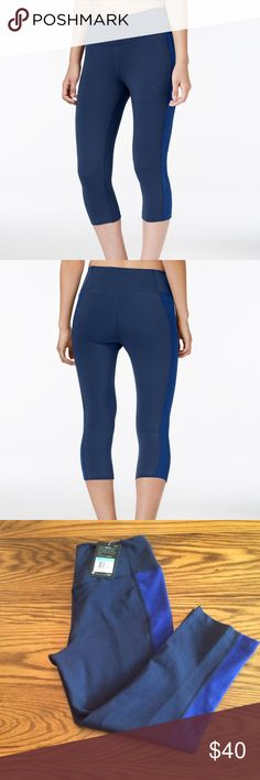 "Nike Legend Dri Fit Cotton Blend Capri Leggings Cotton/polyester/spandex. Mid rise. Skinny fit through hips and thighs. Skinny cropped leg. Pull on styling. Waistband tilts up at back for improved coverage. Colorblocked stripe at side leg. Appropriate inseam 18"" Nike Pants Leggings"