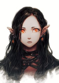 Female, Elf, Halfelf, dark hair, red eyes fantasy character material idea inspiration colouring