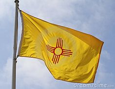 New Mexico State Flag - 47th State to enter into the Union - Date of Statehood - January 6, 1912.  Capital - Santa Fe