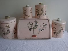 1950's Pink Gold Rooster Canister Set & by PlayfullyVintage