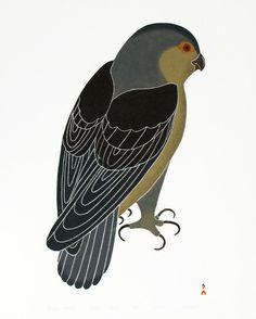 "Kananginak Pootoogook, Inuit artist, ""Watchful Falcon"""
