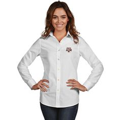 Texas A&M Aggies Antigua Women's Dynasty Woven Long Sleeve Button-Up Shirt - White