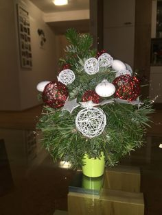 Mini Christmas Tree Made with florist sponge and  Timber branches