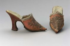 Mules 1740, European, Made of silk and leather