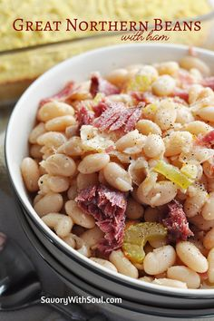 These Crock Pot Great Northern Beans with ham are all about Southern and all about comfort! So easy and delicious! Go great with corn bread or biscuits! #savorywithsoul #greatnorthernbeansrecipe #beanrecipes #crockpotrecipes #beansandham #slowcookerrecipes Crockpot Side Dishes, Beans In Crockpot, Slow Cooker Beans, Bean Recipes, Pork Recipes, Slow Cooker Recipes, Crockpot Recipes, Cooking Recipes, Ham And Beans