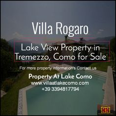 Lake View Property in Tremezzo, Como for Sale Real Estate Humor, Real Estate Services, Property Investor, Rental Property, Real Agent, Waterfront Cottage, Lake Como, Lake View, Luxury Villa