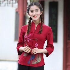 Red Chinese Women'S Linen/Cotton Tops/ T-Shirt Blouse Cheongsam Sz: 6