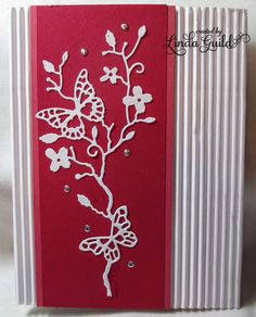 The base of this card is some corrugated white paper that I've had on hand for quite a while. I wanted a white background for the pink a. Memory Box Cards, Memory Box Dies, Card Tags, I Card, Boxed Christmas Cards, Handmade Christmas, Handmade Card Making, Beautiful Handmade Cards, Butterfly Cards