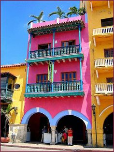 I was there last year. This is in the downtown historical center in Cartagena (Colombia) and in this place exactly you can find our traditional sweets. If you have't been here before, I highly recommend it and at nights is just magical!!! <3 ;)