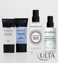 Look to Smashbox Photo Finish primers to lock in your makeup looks. Photo Finish Foundation Primer smoothes skin and blurs flaws; Photo Finish Foundation Primer Pore Minimizing blurs pores, mattifies shine; Photo Finish Primer Water sets and refreshes; and the latest addition, Photo Finish Primerizer, a primer and moisturizer in one.