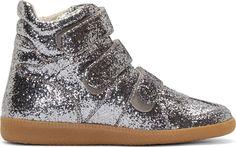 Maison Martin Margiela: Silver Glitter Velcro High-Top Sneakers | SSENSE