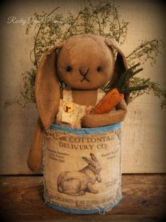 Primitive Easter Spring Bunny Rabbit in a Grubby Can #NaivePrimitive