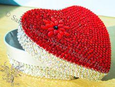 Diamante Embellished Heart Box H.B.1 by SprattPrints on Etsy, £12.00