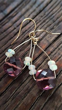 Plum Quartz And Opal Earrings Ethiopian Opal Plum Purple